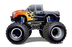 Monster truck dos desenhos animados isolado no fundo branco ilustração stock