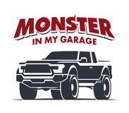 Monster truck garage logo illustration Stock Photo
