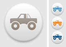 Monster truck icon. Monster truck symbol on round button Royalty Free Stock Images