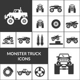 Monster Truck Icons Set. Monster truck and huge auto black icons set  vector illustration Royalty Free Stock Photo