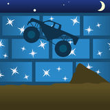 Monster Truck Jump. Dark blue monster truck in the air while cameras flash in the stands. A cresent moon and stars are also visable Royalty Free Stock Photos