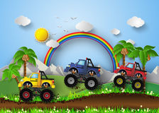 Monster truck racing. A vector illustration of monster truck racing royalty free illustration