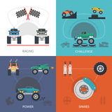 Monster Truck Set. Monster truck design concept set with racing challenge flat icons  vector illustration Royalty Free Stock Images