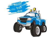 Monster truck show. Blue monster truck with inscription on a white background Stock Photography