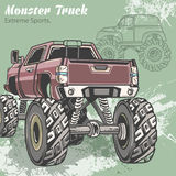 Monster Truck on the sport background with splashes and sketch. Retro vector illustration. Extreme Sports. Adventure. Travel, outdoors art symbols. Off Road Stock Photo