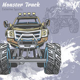 Monster Truck on the sport background with splashes and sketch. Retro vector illustration. Extreme Sports. Adventure. Travel, outdoors art symbols. Off Road Stock Image
