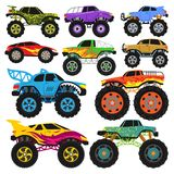 Monster truck vector cartoon vehicle or car and extreme transport illustration set of heavy monstertruck with large. Wheels isolated on white background royalty free illustration