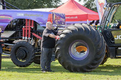 Monster truck wheel change Royalty Free Stock Images