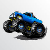 Monster-Truck-Wheelie-Blue. Blue Monster Truck with Supercharger and KC Lights vector illustration