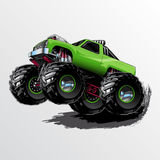 Monster-Truck-Wheelie-Lime Royalty Free Stock Images