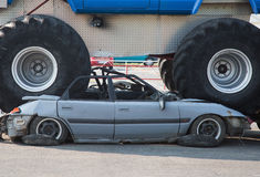 Monster truck wrecked car Royalty Free Stock Image