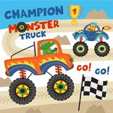 Monster trucks with animals on races. Vector illustration, eps Royalty Free Stock Image