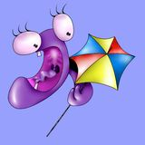 Monster with umbrella Royalty Free Stock Images