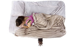 Monster Under The Bed. Monster coming out from under teenage girls bed Royalty Free Stock Images