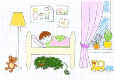 Monster under bed. Vector sketch in doodle style on notebook page Stock Image