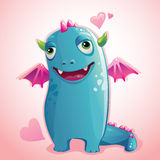 Monster Valentine. Cute little funny monster falling in love Royalty Free Stock Photos