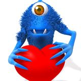 Monster with valentine heart 3d illustration. Over white background Stock Photography