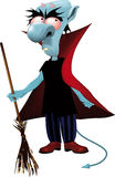 Monster the vampire. With a magic broom Stock Photo