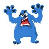 Monster. Vector image of blue cartoon angry Monster Stock Images