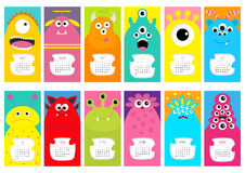 Monster vertical monthly calendar 2017. Cute funny cartoon character set. All month. Flat design. Vector illustration Royalty Free Stock Photos