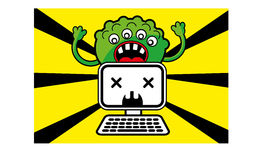 Monster virus. Created by  used for warning icon from virus or other cyber crime Royalty Free Stock Photo