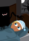 Monster in the wardrobe. Monster reaching out of wardrobe towards scared young blonde boy hiding in the bed royalty free illustration