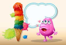 A monster watching the giant icecream Royalty Free Stock Photo