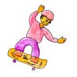 Monster watercolor skateboard evil hero Royalty Free Stock Photography