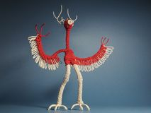 Monster with wings, horns and claws,the product of children`s fears. royalty free stock photo