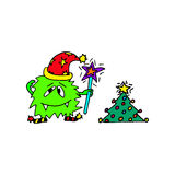 The monster wish a Happy new year. Hand drawn cartoon. For greeting cards stock illustration