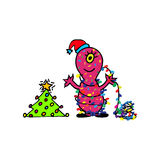 The monster wish a Happy new year. Hand drawn cartoon. For greeting cards vector illustration