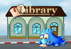 A monster writing in front of the library. Illustration of a monster writing in front of the library royalty free illustration