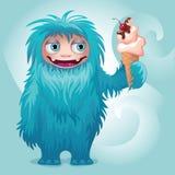 Monster yeti eating ice cream. Cute vector monster yeti character Royalty Free Stock Image