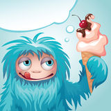 Monster yeti eating ice cream Stock Images