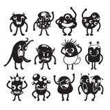 Monster-Zeichentrickfilm-Figur mit den Aktionen eingestellt, einfarbig Stockbilder