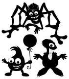 Monster zwarte silhouetten. Royalty-vrije Stock Fotografie