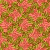Monstera绿色和红橙色热带叶子的无缝的样式,在珊瑚背景 皇族释放例证