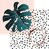 Monstera and geometry-02. Abstract creative background. Geometric shapes and emerald monstera leaf. In the Memphis style. Vector. Trendy pink powder and bronze Stock Photos