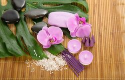 Monstera leaf, orchid and set for Spa Stock Photo