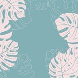Monstera Leaf pattern background. Vector illustration. Monstera Leaf pattern background blue and pink color. Vector illustration Royalty Free Stock Photos