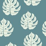 Monstera Leaf seamless pattern blue and cream color. Vector illu. Stration Royalty Free Stock Images