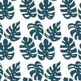 Monstera leaf seamless pattern on white background. Vector illustration in hand drawn flat stock illustration