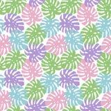 Monstera púrpura, verde claro, rosado y el azul deja el summ tropical ilustración del vector