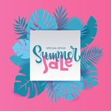 Monstera palm leaves Summer Sale Banner design in paper cut style. Origami white sheet with hand lettering Special offer with stock illustration