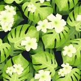 Monstera-Palmblätter Muster und Hibiscusblumen stock abbildung