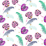 Monstera pink tropic plant leaves seamless pattern. Exotic nature pattern for fabric, wallpaper or apparel Royalty Free Stock Images