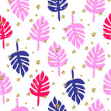 Monstera tropic palm pink and blue leaves seamless pattern. Stock Images
