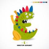 Monsteralfabet Brief E royalty-vrije illustratie