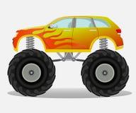 Monsterauto met vlamsticker aan de kant Vrachtwagenvoertuig Stock Fotografie