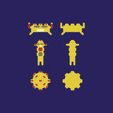 Monstercharaktere für Spiel-APPspiel oder -Poster Roboter-APP stockfotografie